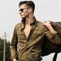 Promoción 100% algodón camisa casual de manga larga suelta más la parte superior prendas de vestir exteriores camisa vuelo militar envío gratis