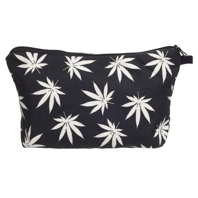 Trend Women Neceser Portable Make Up Bag Case 3D Printing Black Weed Organizer Bolsa feminina Travel Toiletry Bag Cosmetic Bag рюкзак case logic 17 3 prevailer black prev217blk mid