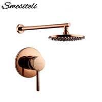 Rose Gold Bathroom Solid Brass Shower Diverter Valve Faucet Set With 8-12 Inch Round Shower Head Bathroom Wall Shower Parts