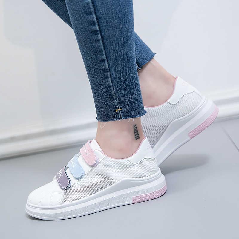 35cc303dd5a 2018 женские летние кроссовки на толстой плоской подошве, белые женские  туфли на ...