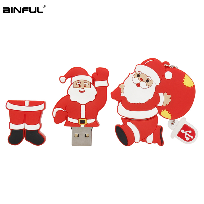 Image 1 - Santa Claus Wholesale Usb Flash Drive 4GB 8GB 16GB 32GB 64GB 128GB Pen Drive Usb 2.0 Cartoon Snowman Lovely Gift Pendrive U Disk-in USB Flash Drives from Computer & Office