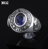 925 Ретро мода череп в панк Локомотив стиле тайское серебряное кольцо