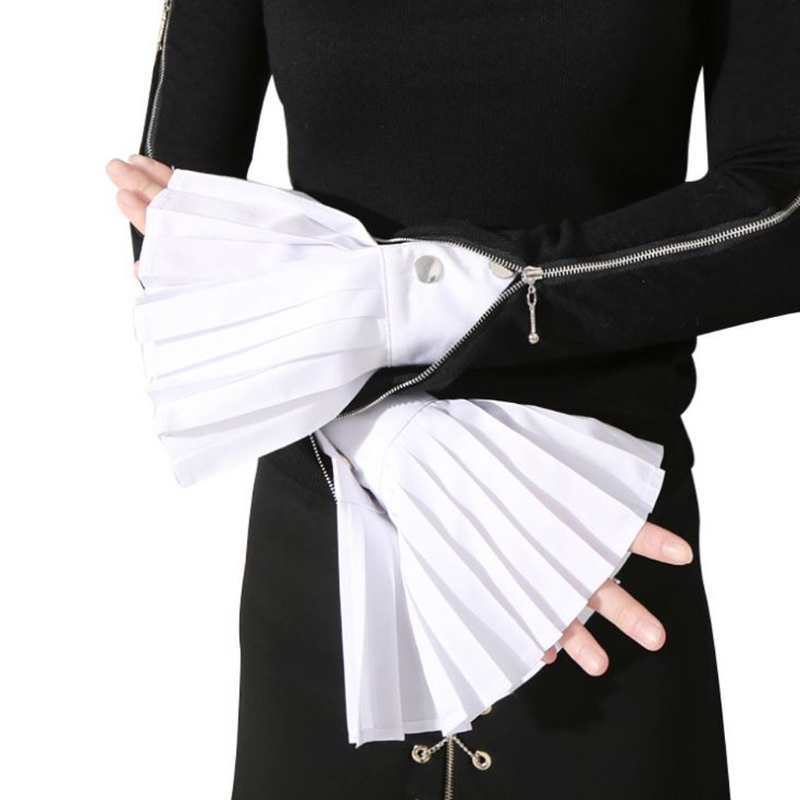 1 Pair Detachable Sleeve Cuffs Shirt Pleated Horn Flare Sleeve Cuffs Over Sleeve 2018 New Fashion White Black Blue