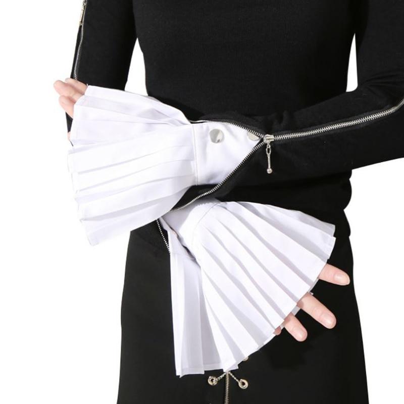 1 Pair Detachable Sleeve Cuffs Shirt Pleated Horn Flare Sleeve Cuffs Over Sleeve 2020 New Fashion White Black Blue