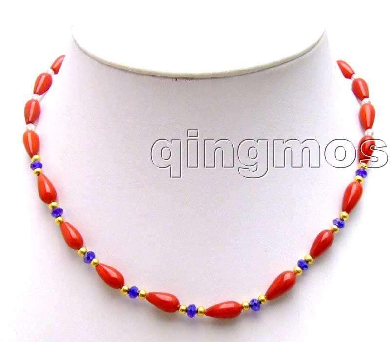a9d01cef0251 5 9mm gota roja de alta calidad coral natural con rhinestone 17 collar  nec5750 al por mayor al por menor envío libre