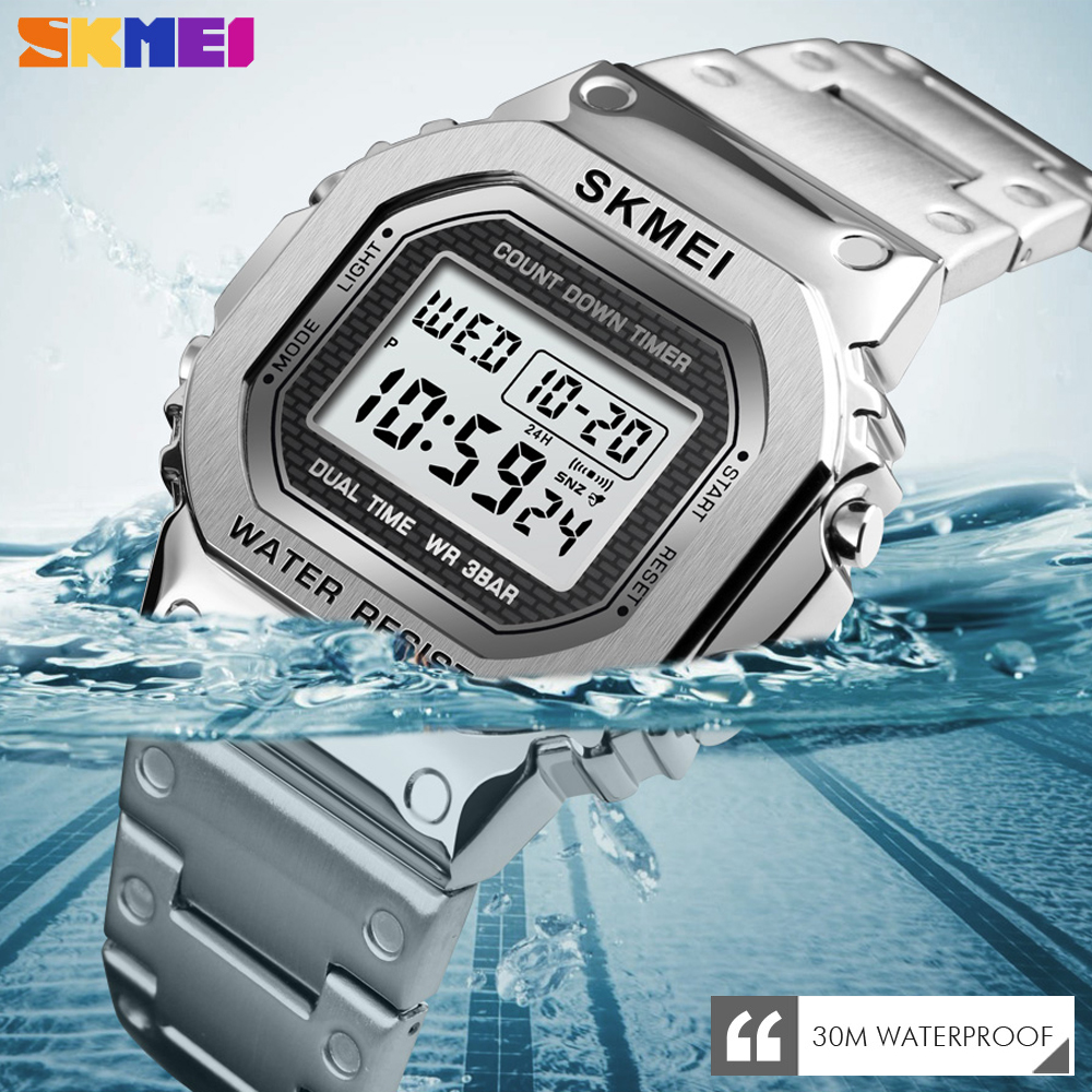 <font><b>SKMEI</b></font> Outdoor Sport Alarm Clock Men's Watch Luxury Chronograph Digital Clock 2 Time Business Waterproof Wristwatch reloj hombre image