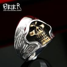 Beier nueva tienda 316L anillo de acero inoxidable de alta calidad buen detalle el cráneo de la muerte anillo vintage para hombre joyería LLBR8-156R