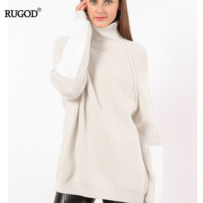 RUGOD Patch Sleeve Womens Winter Turtleneck Jumper