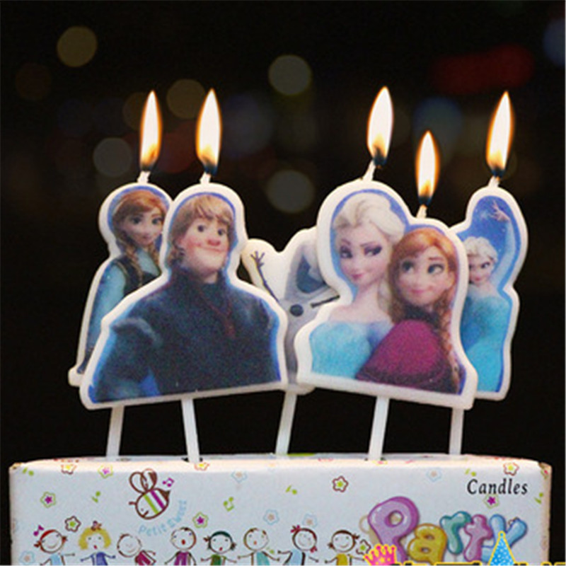 5pcs/lot Frozen Anna And Elsa Party Decorations Birthday Cake Wax Candles Princes Party Supplies Set