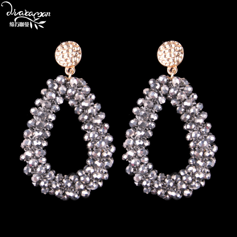 Dvacaman Brand Hot Sale Rhinestone Big Drop Earrings Women Bohemian Maxi Statement Jewelry Earrings Party Gifts Wholesale RR65