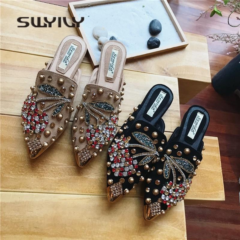 SWYIVY Women Slipper Pointed Toe Crystal Flower 2018 Spring Female Luxury Half Slippers Lady Outside Wear Slides Woman SlippersSlippers   -