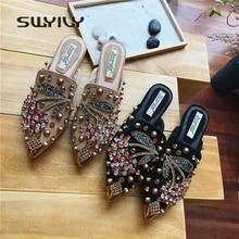 SWYIVY Women Slipper Pointed Toe Crystal Flower 2018 Spring Female Luxury Half Slippers Lady Outside Wear Slides Woman Slippers