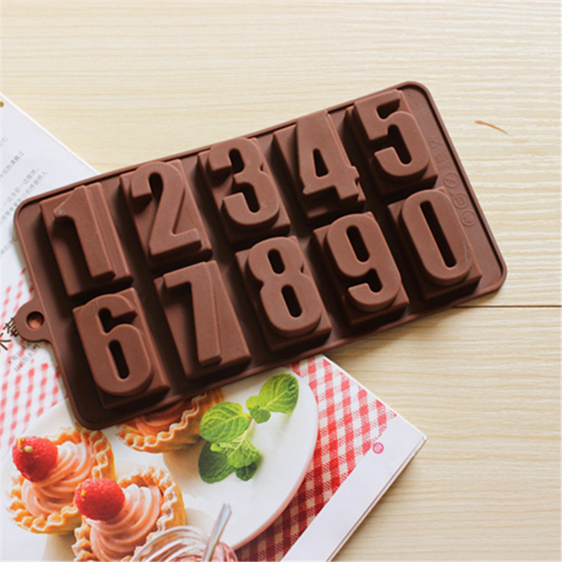 0 9 Numbers Shape Ice Chocolate Making Tools Silicone Cake Candy Jelly Soap Baking Mold Cake Decorating Tools in Baking Pastry Tools from Home Garden