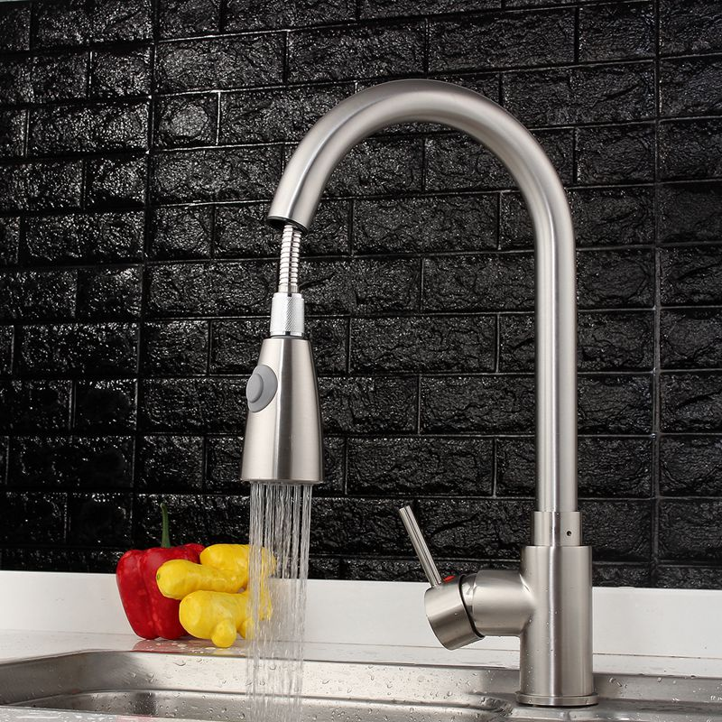 Xueqin Nickel Brushed Kitchen Basin Sink Water Faucet Tap Pull Out Spray Mixer Tap All Copper Faucet With 2 Inlet Hoses