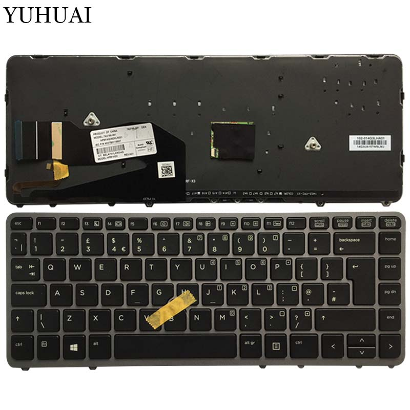 UK New laptop keyboard For <font><b>HP</b></font> EliteBook 840 <font><b>G1</b></font> <font><b>850</b></font> <font><b>G1</b></font> ZBook 14 <font><b>HP</b></font> 840 G2 Silver backlight with pointing stick image