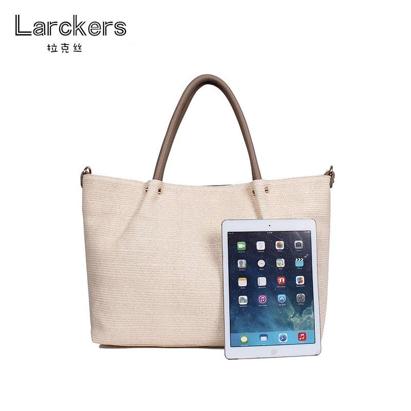Larckers haute qualité paille et lin femmes sac à main solide grande capacité décontracté dames sac à bandoulière sacs doux et environnementaux