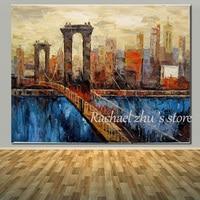 100%ハンドメイド博物館品質の油絵キャンバスアート抽象都市ストリート風景油絵リビングルームホーム壁の装
