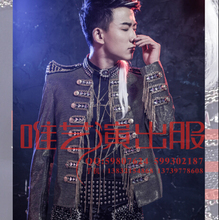 New males'e DJ singer host visitor new bar environment gown night males's trend slim stage Nightclub costumes clothes