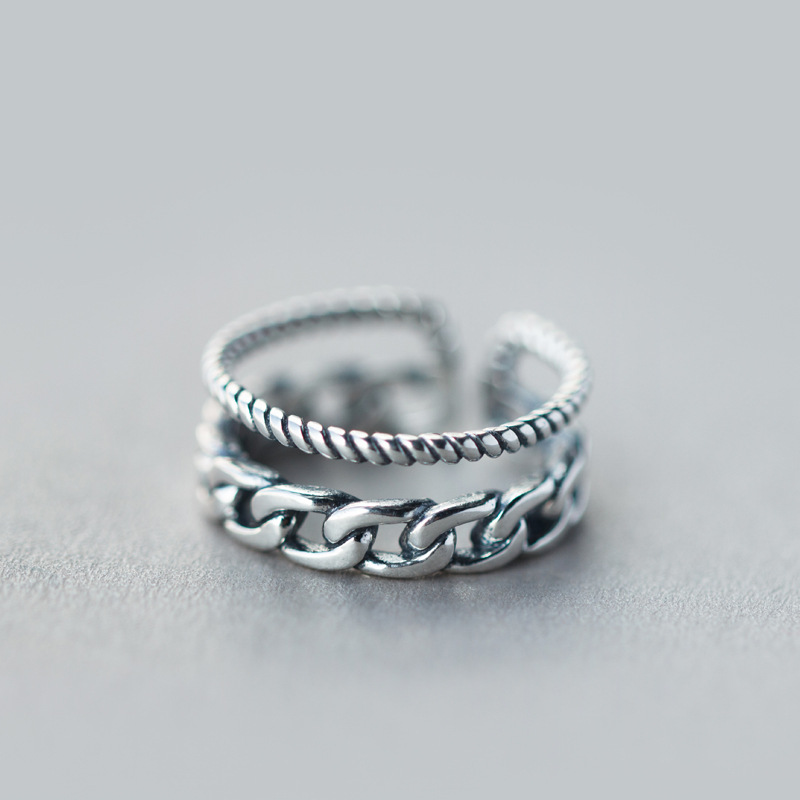 Real. 925 Sterling Silver jewelry Adjustable Multi-Rows Twisted Band Ring GTLJ883Real. 925 Sterling Silver jewelry Adjustable Multi-Rows Twisted Band Ring GTLJ883