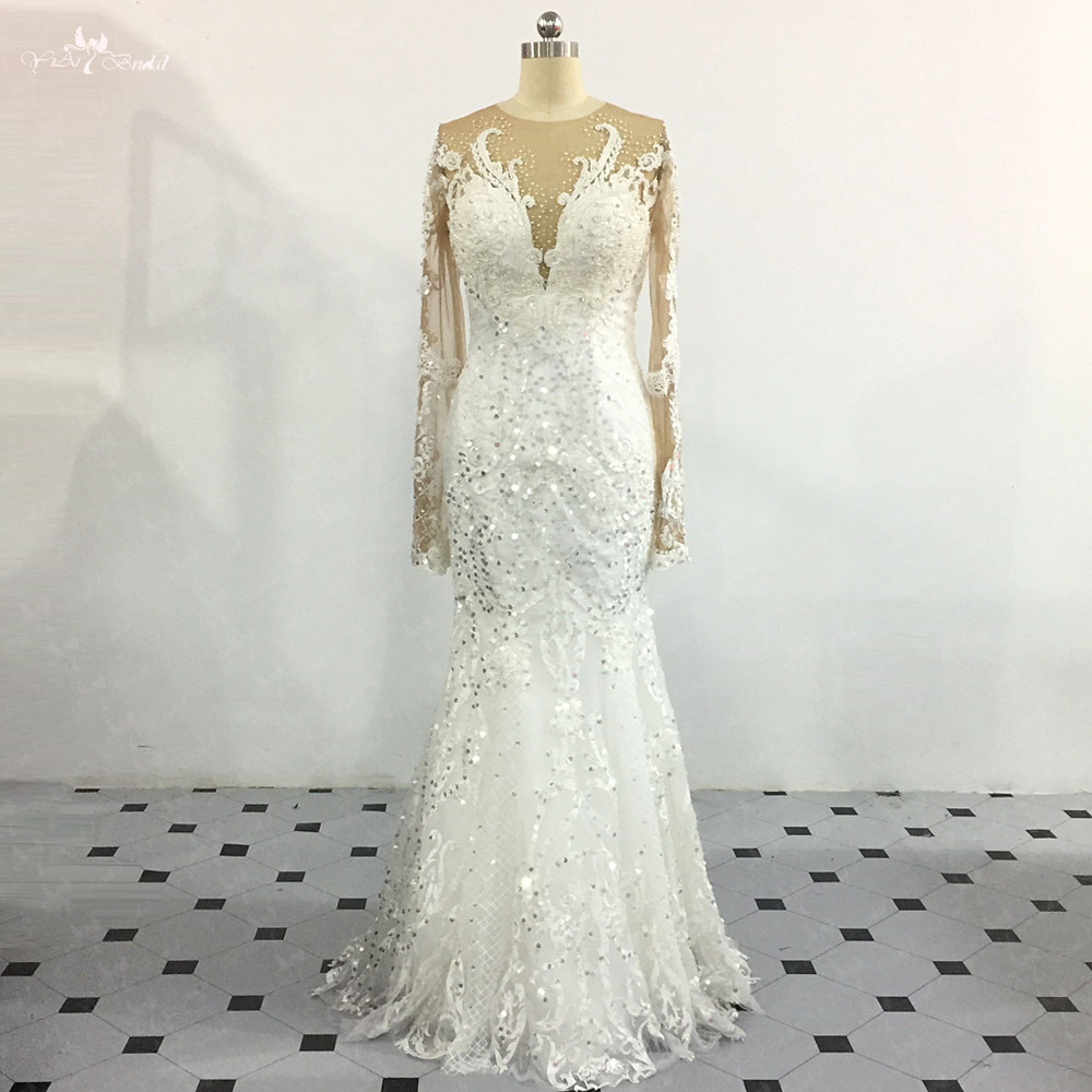 LZ266 Yiaibridal Vestido De Noiva Heavy Beaded Long Sleeve Wedding Dress Ivory Mermaid Sequined Floor Length