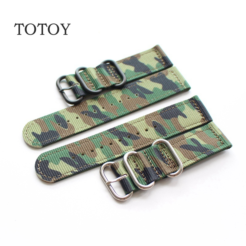 TOTOY Soldiers In Camouflage Green Nylon Watchbands, 18MM / 20MM / 22MM Sport Nylon Watchbands, For Men Models Retro Strap android ios app 433mhz sensor dual network gsm pstn sim call lcd smart dislay touch keypad home burglar security alarm