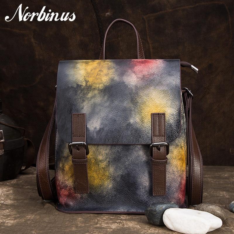 Norbinus mode femmes en cuir véritable sac à dos sacs d'école pour adolescente filles femme rétro cuir de vache sac à dos voyage sac à dos