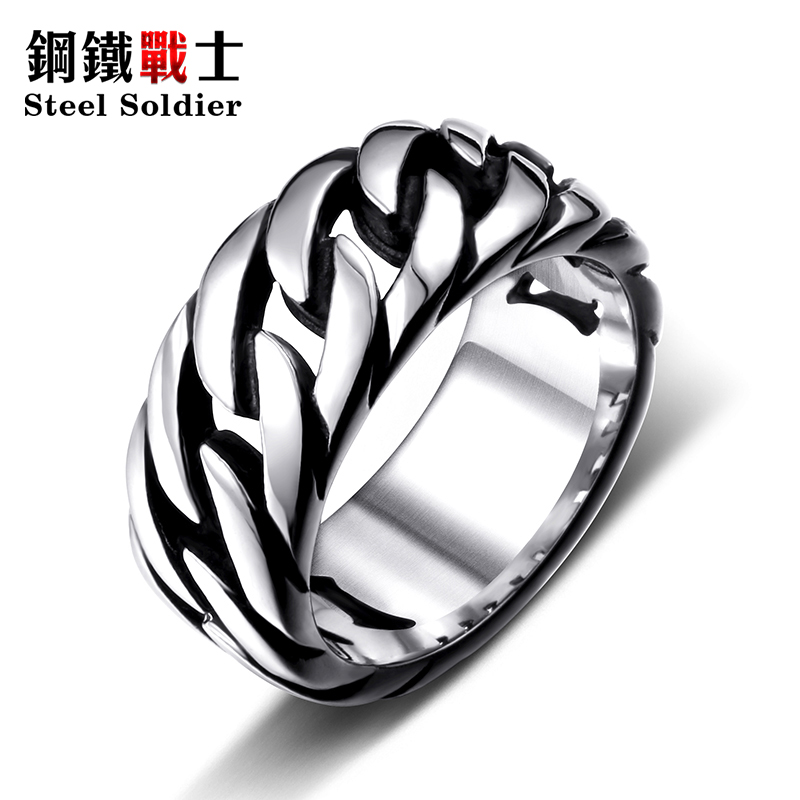 steel soldier titanium steel Gothic chain ring personality retro ring for men stainless steel ring jewelry 1