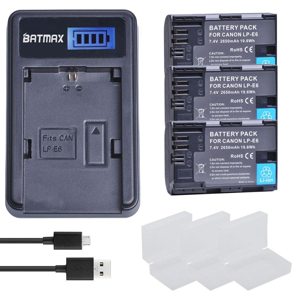 2650mah 3x LP-E6 LP E6 lpe6 Batteries Bateria+LCD USB Charger for Canon 5D Mark II III 7D 60D EOS 6D 80D 70D XC10 5DS2650mah 3x LP-E6 LP E6 lpe6 Batteries Bateria+LCD USB Charger for Canon 5D Mark II III 7D 60D EOS 6D 80D 70D XC10 5DS