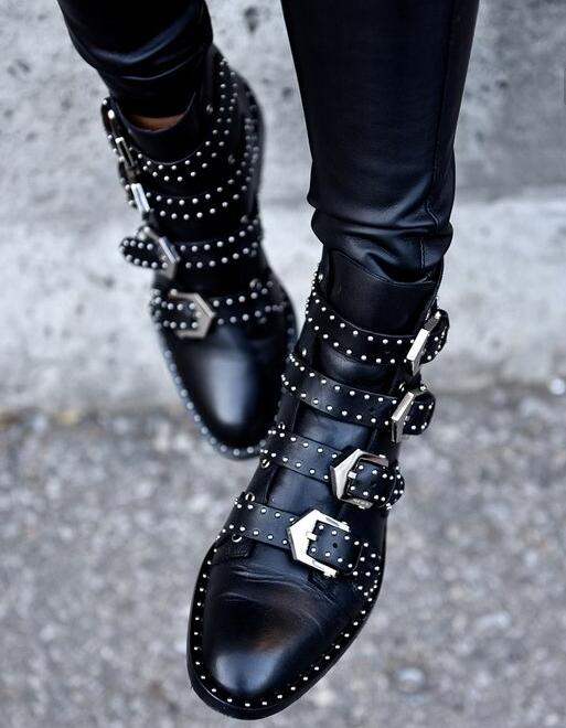 2017 Black Studded Buckle Boots Silver-tone studded women boots hardware Four straps Ankle-high buffed calfskin boots in black in win ear007 450w black silver
