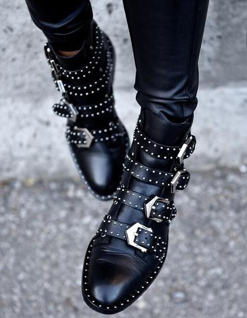 c92de970ed45 2017 Black Studded Buckle Boots Silver-tone studded women boots hardware  Four straps Ankle-high buffed calfskin boots in black