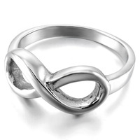Women S Stainless Steel Ring Band Silver Infinity Love Symbol 8 Friends Forever Promise Engagement Charm