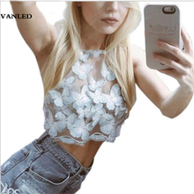 VANLED Women Summer Beach Embroidery Tank Plus Size 3D Butterfly Top Sexy Camis Off Shoulder Halter Backless Tank Top Blue XL