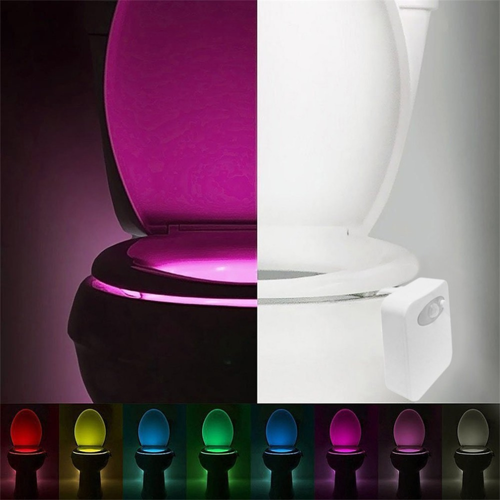 Smart LED Human Motion Sensor Activated Toilet Night Light Bathroom With 8 Color Toilet Seat Lamp Automatic Sensor Seat Light(China)