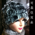 Free shipping 2017 winter thermal quinquagenarian rex rabbit hair ear fur hat flower fur hat