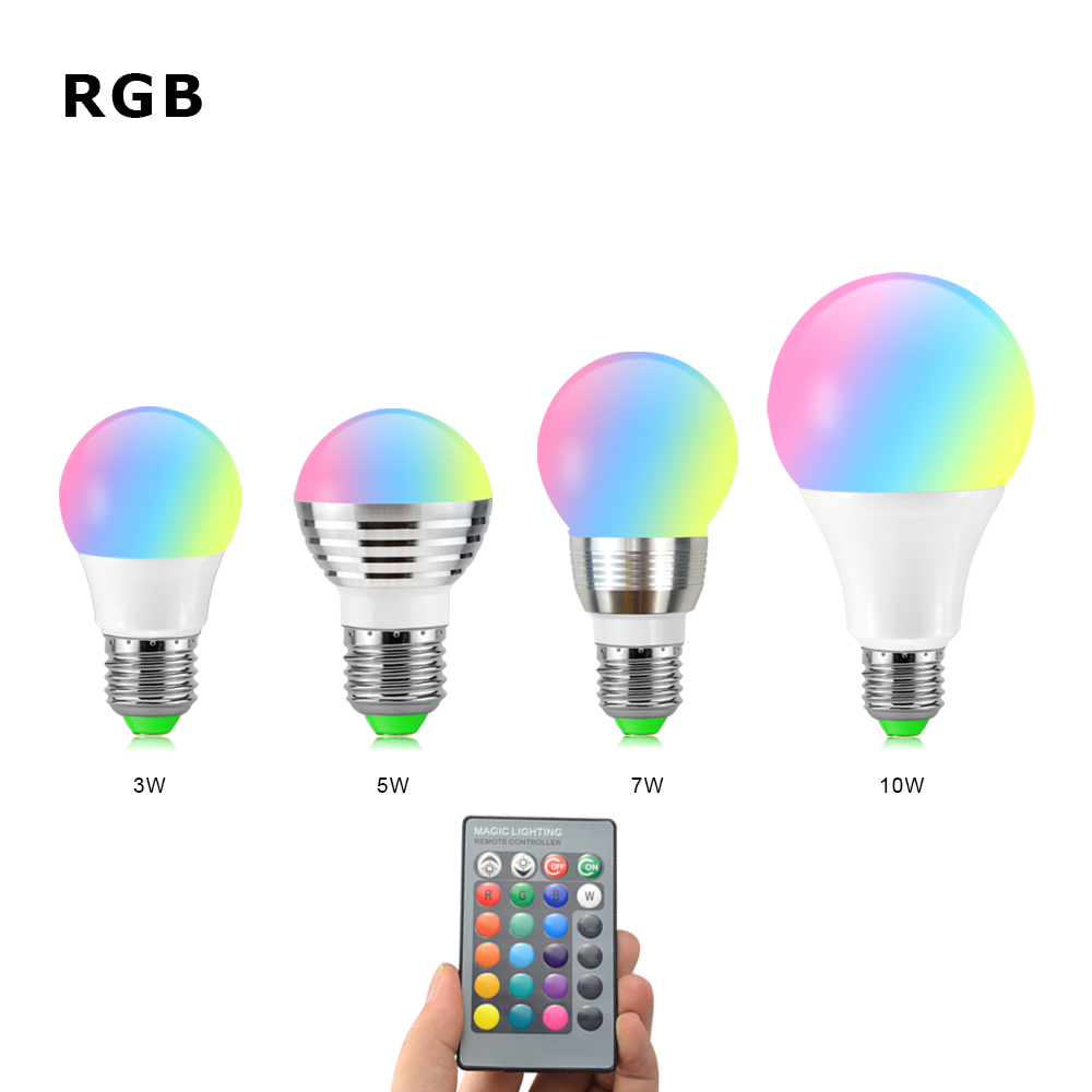 AMENTE LED RGB Lamp Bulb 85 265V 3W 5W 7W 10W E27 Lampada Led Holiday Magic Light + IR Remote     -> Lampada Led Rgb
