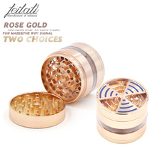 New creative metal 4-layer tobacco grinder, fashionable rose gold the best choice of fashion gifts,