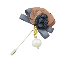 Fabric Flower and Pearl Dangle Lapel Pin (3 Colors)