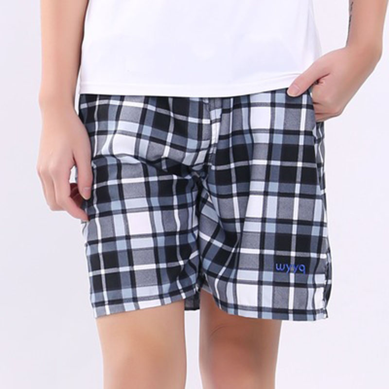 Casual Shorts Elastic-Band Quick-Drying Plaid-Pattern Breathable Summer New-Fashion Thin