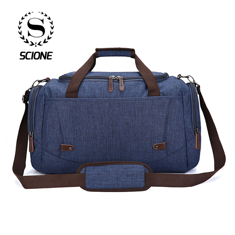 Scione High Quality Solid Travel Luggage Hand Bags Large Capacity Casual Storage Leisure Duffel Shoulder Bag For Holiday Weekend