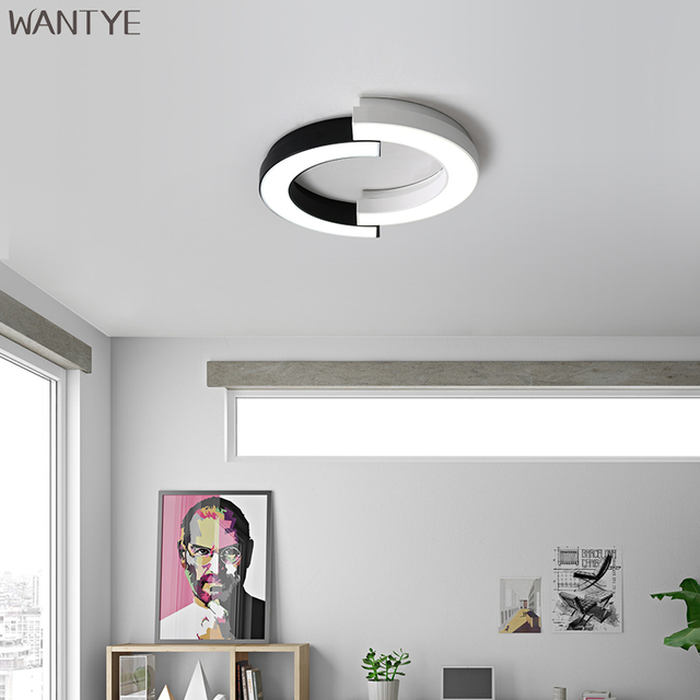 Creative Round Ceiling Lamp LED 220V Bedroom Living room Modern Lighting Ceiling Lights Surface Mounted Acrylic Black and White