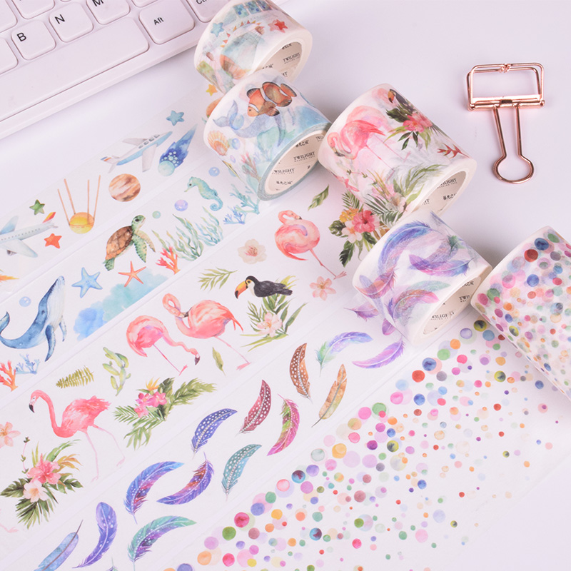 Flamingo feather washi tape DIY decoration scrapbooking planner masking tape adhesive tape kawaii 10m 15mm creative colored dots washi tape diy decoration scrapbooking planner masking tape kawaii stationery adhesive tape 1 pcs