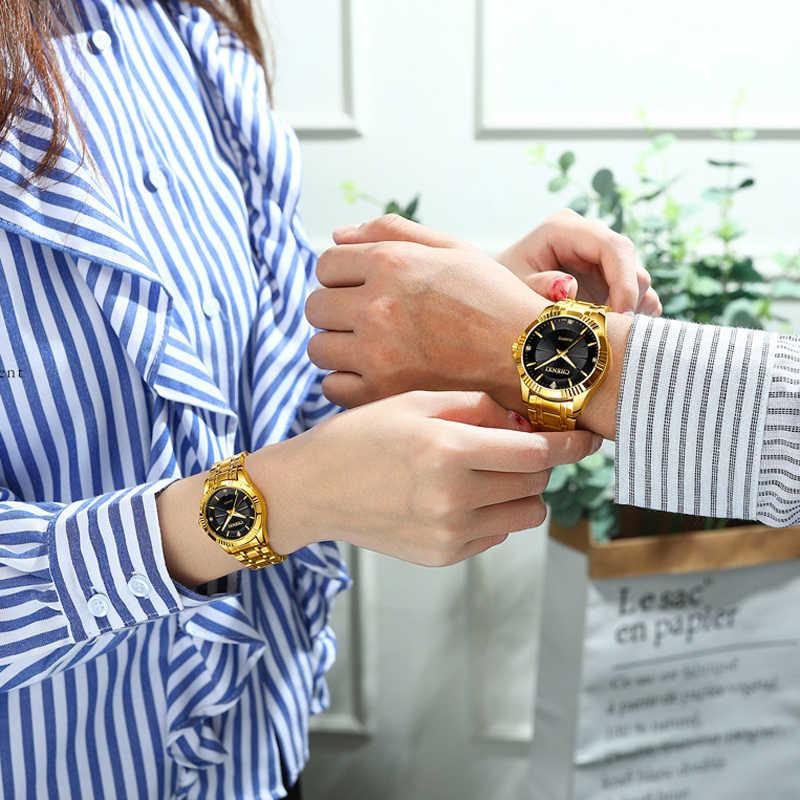 CHENXI Criativo de Ouro Dos Homens Das Mulheres de Pulso de Quartzo dos homens Relógio de Luxo Da Marca Completa de Aço Relógios amantes Relógio de Ouro À Prova D' Água