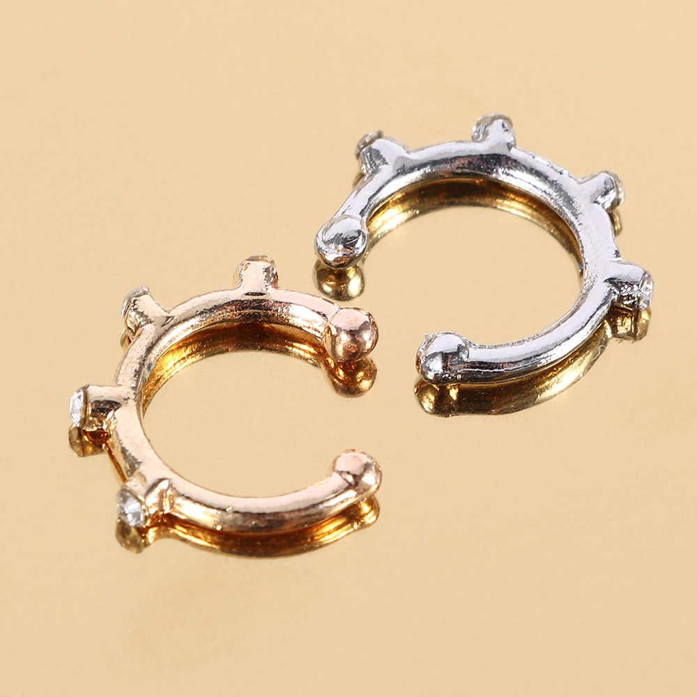 Stainless Steel Rhinestone Nose Ring Round Hoop Circular Ring Lip Piercing Nose Rings Tragus Ear Piercing Punk Jewelry