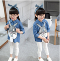 New spring and summer 2016 baby girls cartoon rabbits printed children t shirt