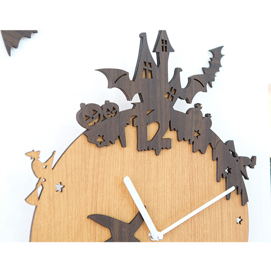 Large Europe Retro Wooden Wall Clock Modern Design Halloween Theme ...