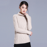 new arrive 2016 winter sweaters Europe and America semi high neck twist rope long sleeve pure cashmere women pullovers 1133