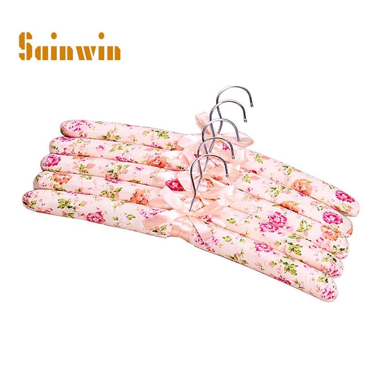Sainwin 10pcs / lot 38cm vuxen polyester tyg hängare svamp klädhylla glidbar hängare för kläder pinns klädhängare