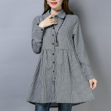 CUERLY women elegant plaid shirt dress checkered long sleeve femle straight casual mini dresses vestidos 2019