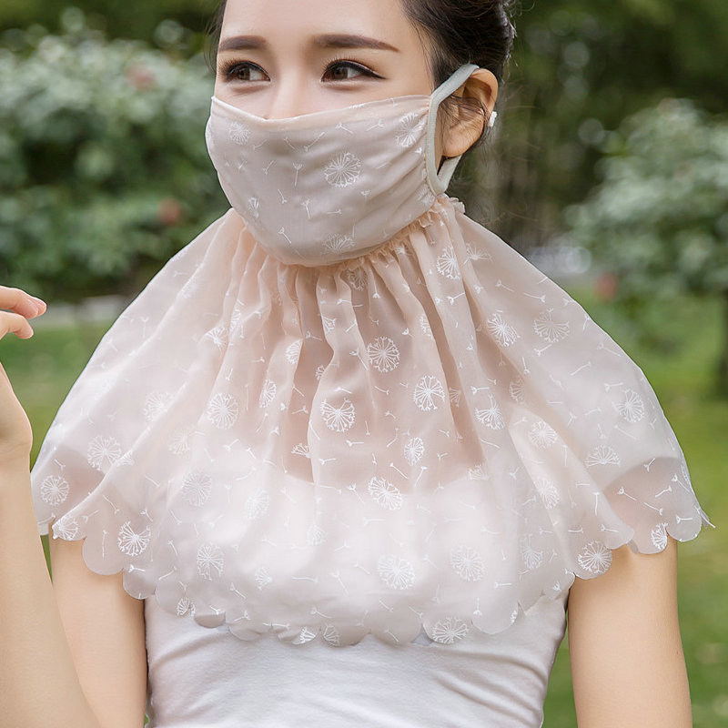 Sunscreen Mask Female Summer Thin Ultraviolet Protective Women Breathable Driving Sunshade Full Face Mask Neck Shading H3142