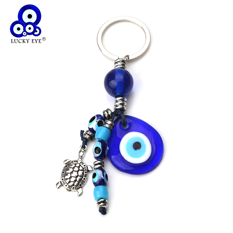 Lucky Eye Elephant Hamsa Hand Tree Keychain Evil Eye Glass Beads Key Chain Car Keyring For Women Men Jewelry Gifts EY1405